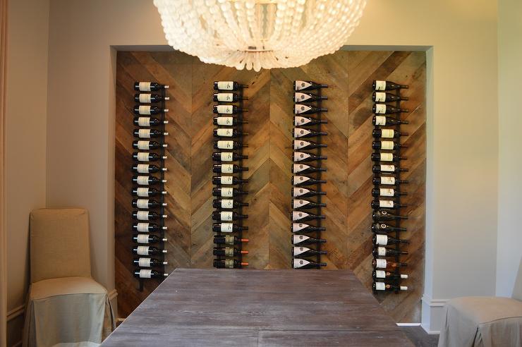 Dining Room with Wood Herringbone Wine Rack  Transitional