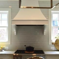 Kitchen Hood Cabinets Wichita Ks Windows Flanking Design Ideas White French With Gray Brick Tiles