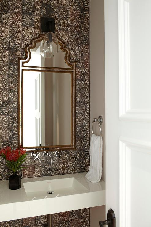 window treatments for kitchens kitchen rugs walmart moroccan style powder room with brown mosaic tiles ...