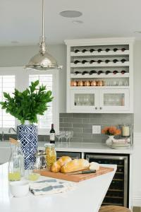 Kitchen with Over The Counter Wine Rack