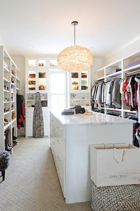 White Walk in Closet with White Feather Chandelier  Transitional  Closet