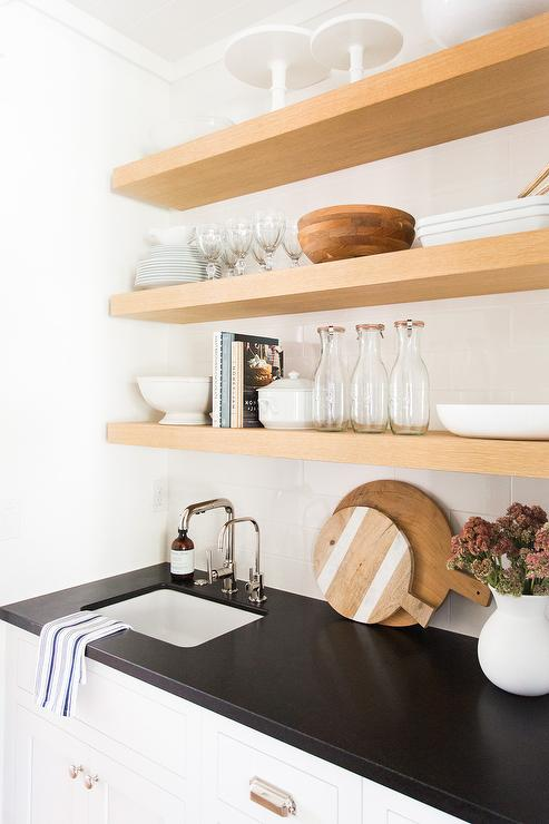 Butler Pantry with Blond Floating Shelves  Transitional