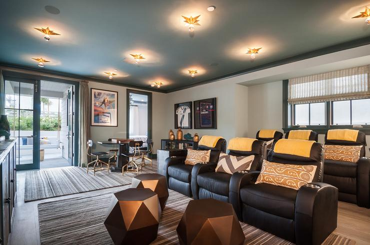 Movie Room with Blue Painted Ceiling and Black Recliner