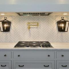 Polished Nickel Kitchen Faucet Folding Cart White Mini Beveled Subway Tiles - Transitional ...