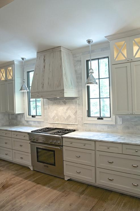 White Kitchen Cabinets with Gray Framed Glass Doors