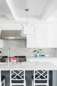 Gray Center Island with White Bamboo Counter Stools ...