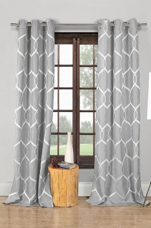 Gray And White Wrinkle Wave Pattern Panel Curtains