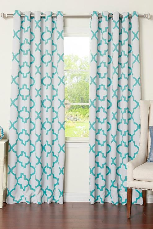 cafe curtains for living room on sale white and blue moroccan blackout curtain