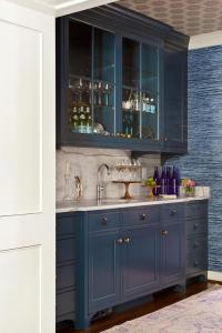Blue Wet Bar Cabinets with Brass Hardware - Transitional ...