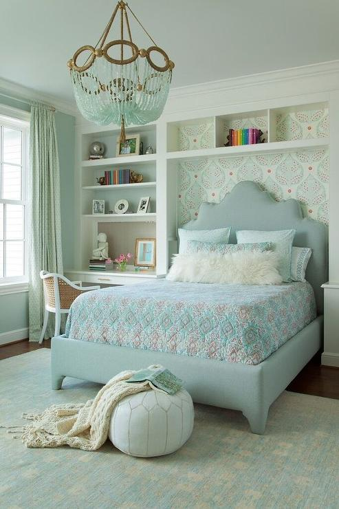 Blue and Gray Girl Bedroom with Turquoise Beaded
