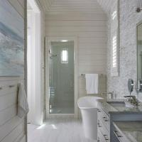 Shiplap Vaulted Bathroom Ceiling with Rustic Wood Beams
