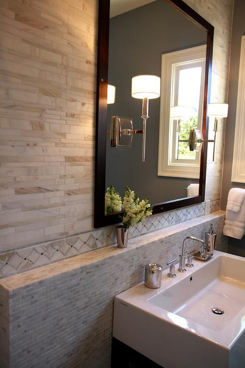 Bathroom Backsplash Marble Shelf  Contemporary  Bathroom