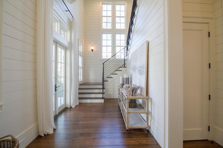 Beach House Foyer With Tiered Console Table And Gray