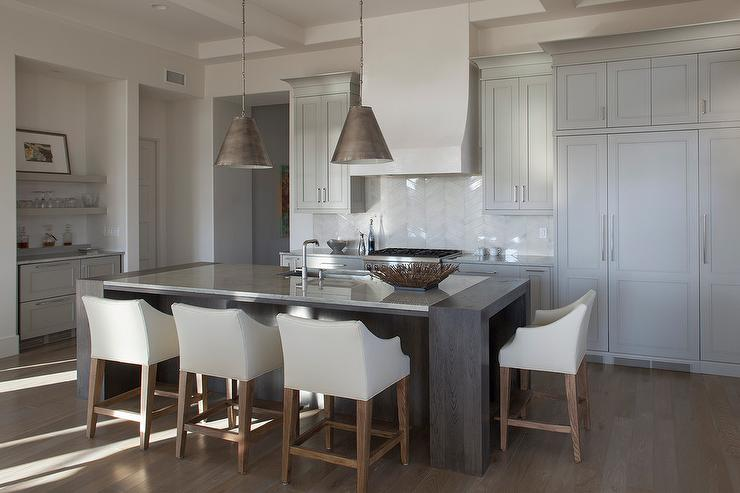 White Kitchen Cabinets With Light Gray Island Light Gray Beach Style Kitchen With White Glass