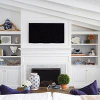 Shiplap Fireplace Vaulted Ceiling   Mail Cabinet