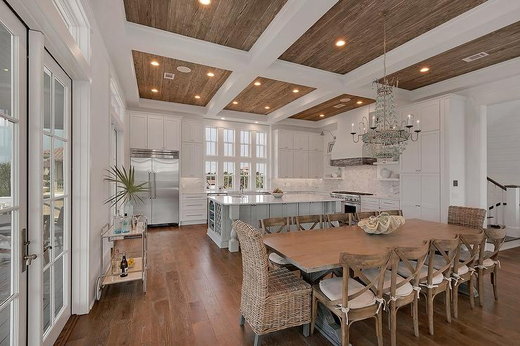white farmhouse kitchen table and chairs nice office uk wicker dining - transitional architectural digest