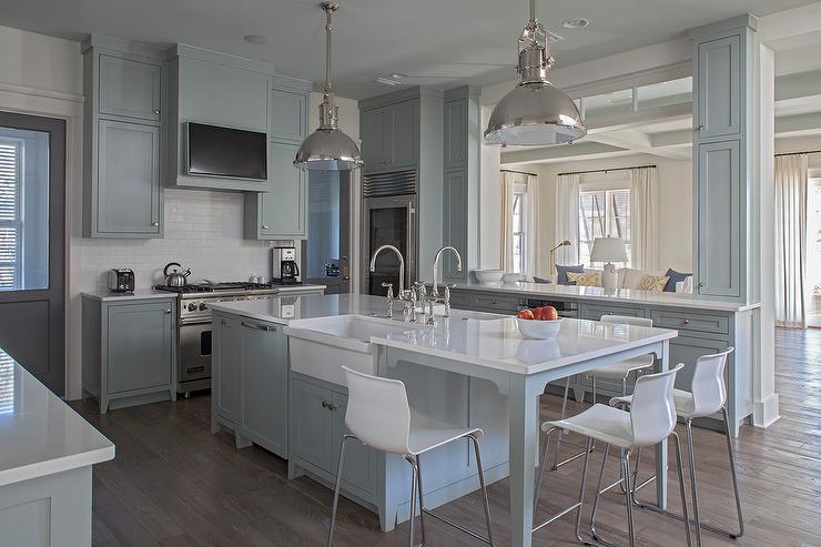ikea kitchen bar drapes gray island with white stools cottage