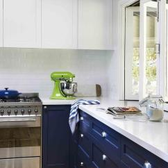 Movable Kitchen Island Where To Buy Cabinet Doors Navy Lower Cabinets With Long Brass Pulls ...