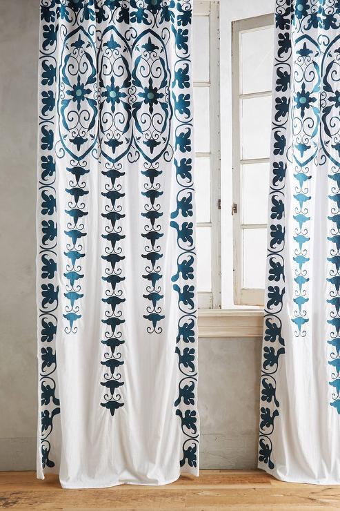 Indigo And White Paisley Curtain