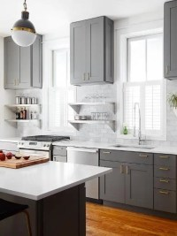 Gray Shaker KItchen Cabinets with Engineered White Quartz ...