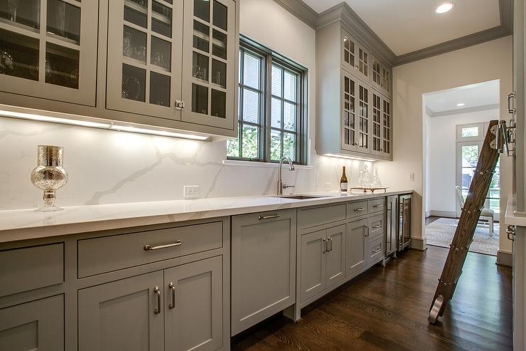 gray butler pantry with under cabinet