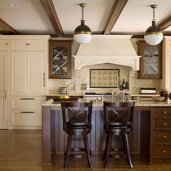 stainless steel kitchen pendant light curtains for dark brown cabinets with gold pulls - transitional