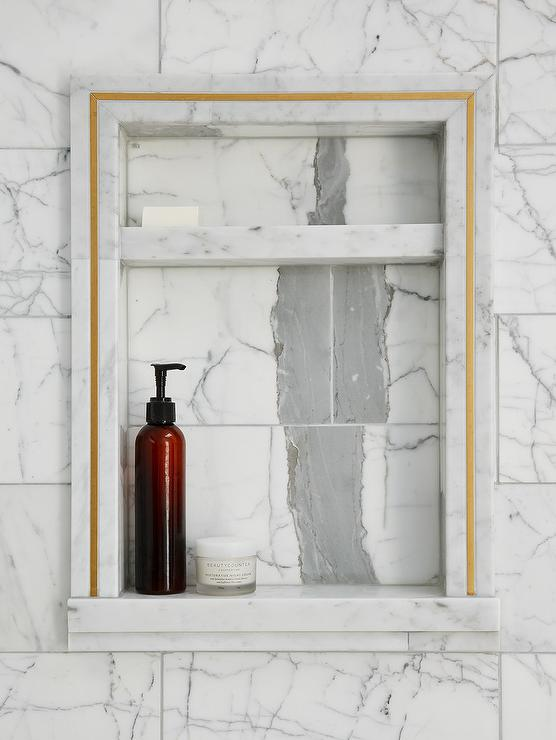 Marble Tile Shower Niche with Gold Trim  Transitional