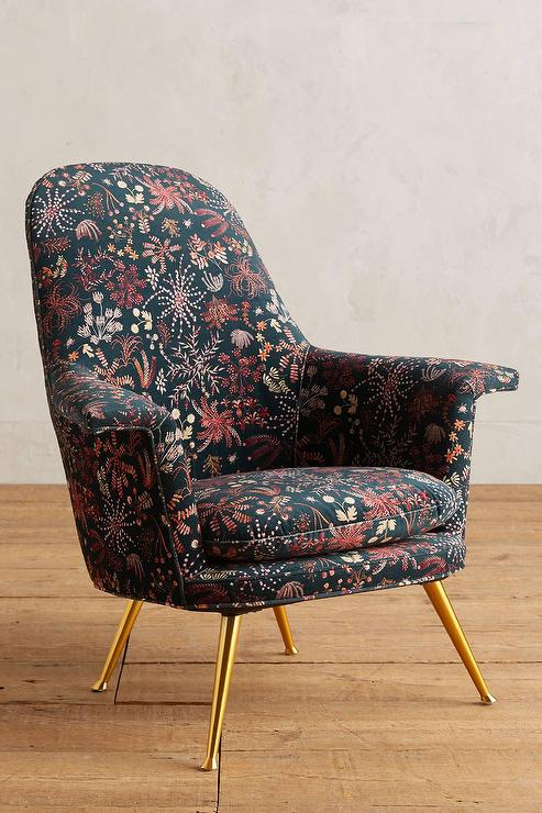 floral upholstered chair trendy office chairs multicolor printed brass legs