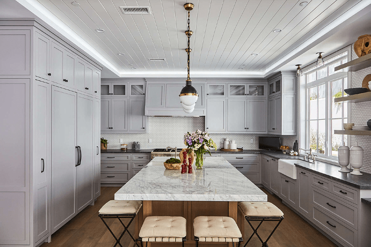 Butcher Block Prep Island with Sink  Transitional  Kitchen