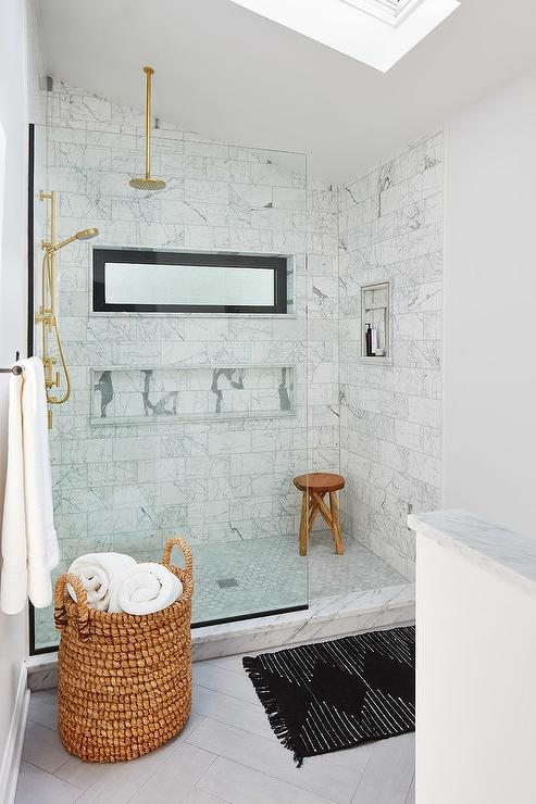 Walk In Shower with Sloped Ceiling and Gray Tiles  Transitional  Bathroom