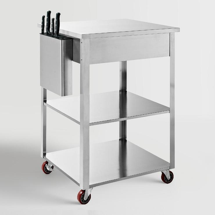 stainless steel kitchen cart contemporary decor silver
