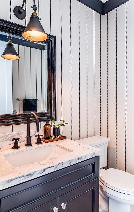 Contemporary Bathroom with Yellow and Black Scalamandre Zebra Wallpaper  Contemporary  Bathroom
