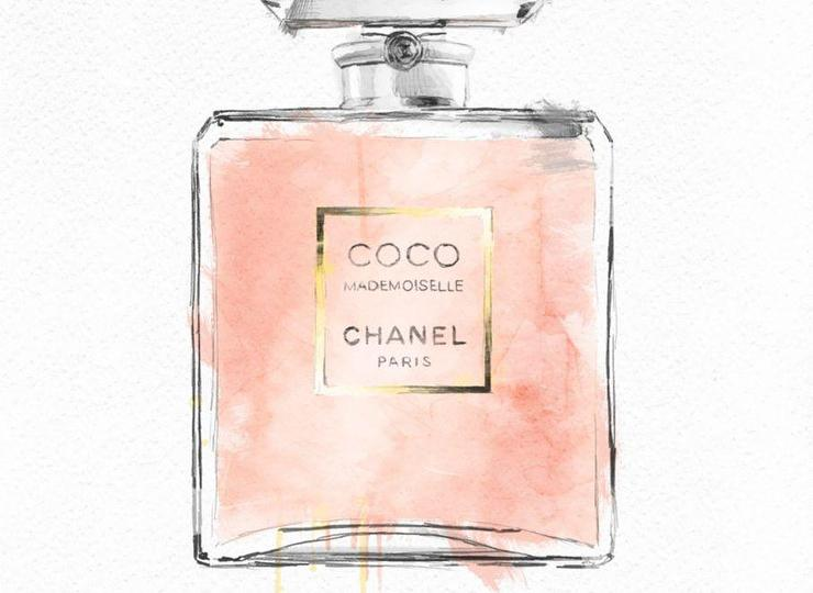 Purple to Blue Ombre Chanel Perfume Print