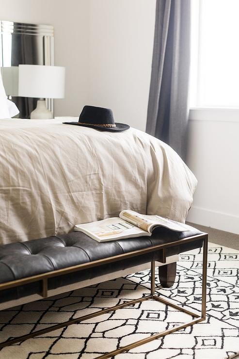 zephyr black leather tufted bedroom bench