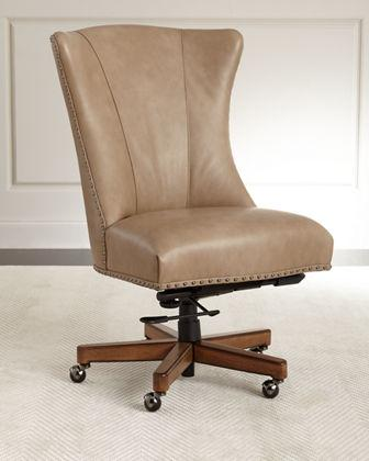distressed leather desk chair chairs for short people beige office