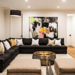 Black Sectional Living Room Ideas Ceiling With Gold Pillows Design Linen Armless