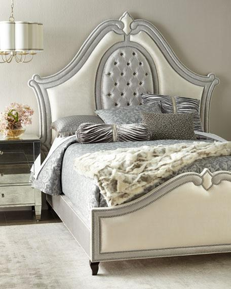 White and Silver Upholstered Curved Queen Bed
