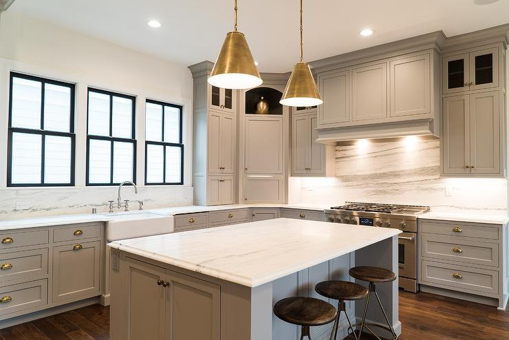 kitchen sink paint types of faucets gray shaker cabinets with polished brass cup pulls ...