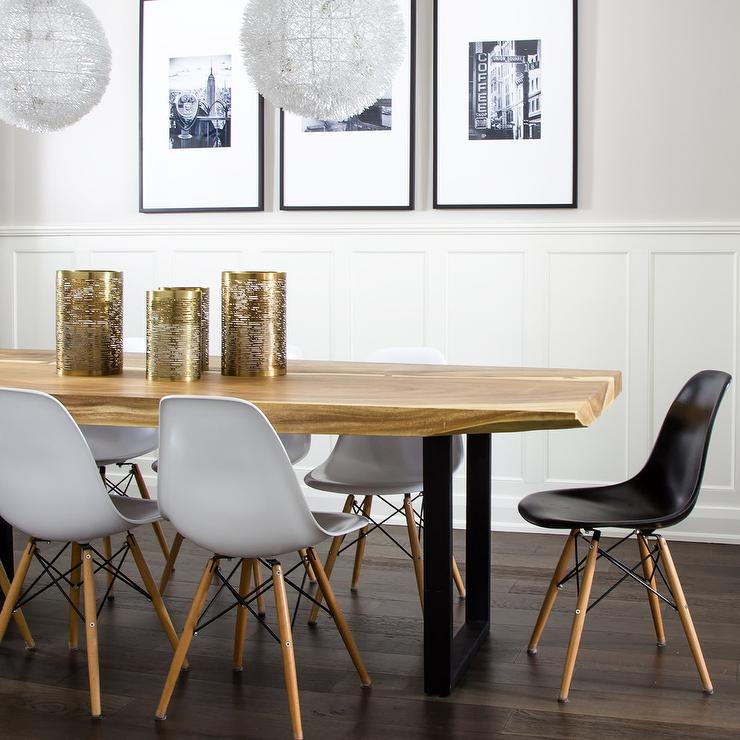 LIve Edge Dining Table with Eames Molded Plastic Dining