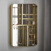 Brass Framed Mirrored Wall Mount Jewelry Organizer
