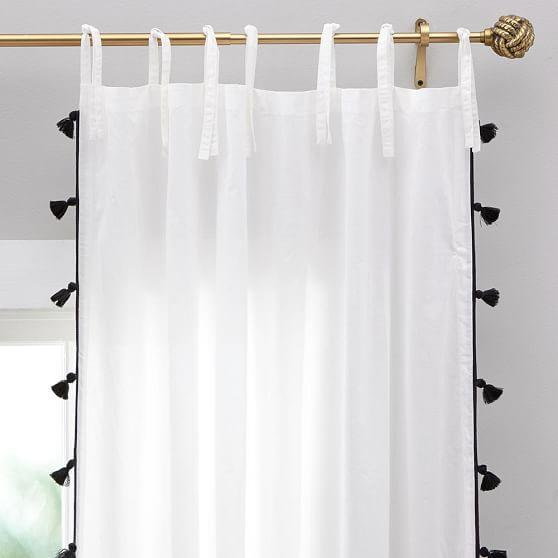 black tassel white sheer panel