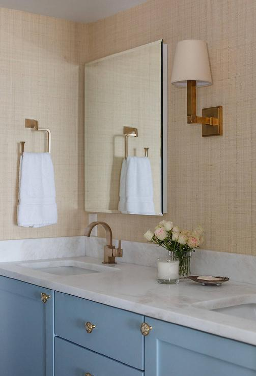 Navy Bathroom Vanity with Industrial Rivet Medicine