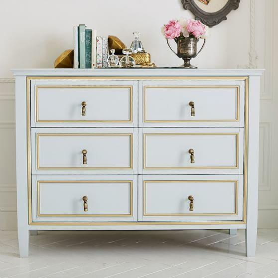 gold six drawer tassel pulls wide dresser
