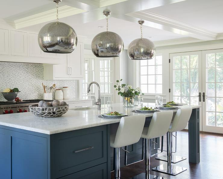 Blue Kitchen Island with Drawers  Contemporary  Kitchen