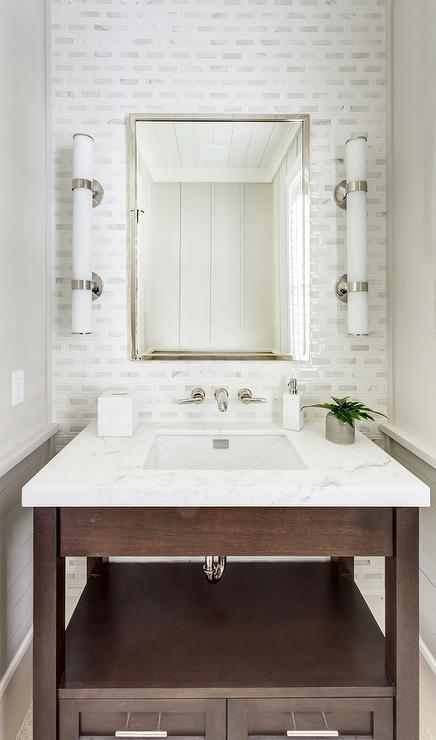Polished Chrome Washstand  Contemporary  bathroom