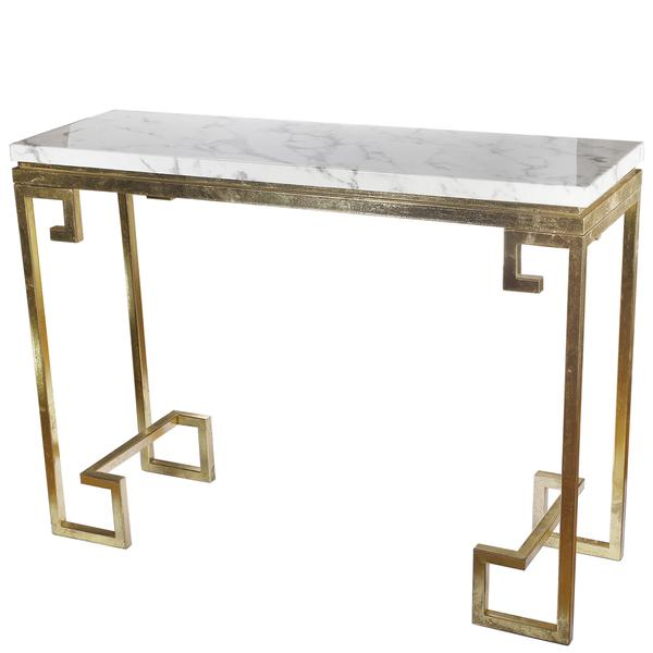 sofa table size corner for small rooms gold greek key white marble console