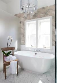 Wall Mount Tub Filler on Marble Wall - Transitional - Bathroom
