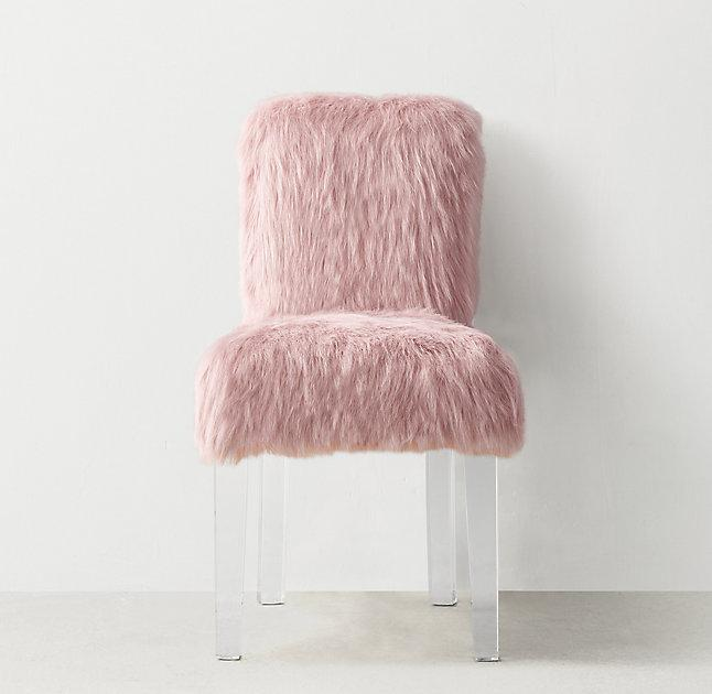 faux fur chair cover high quality outdoor folding chairs pink acrylic legs desk