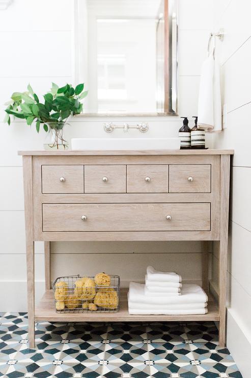 White and Gray Powder Room  Contemporary  bathroom