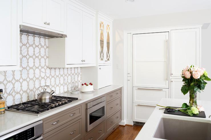 White Upper Kitchen Cabinets with Taupe Lower Kitchen